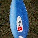 Red Paddle Co Surfer 10 inflatable SUP underside from nose