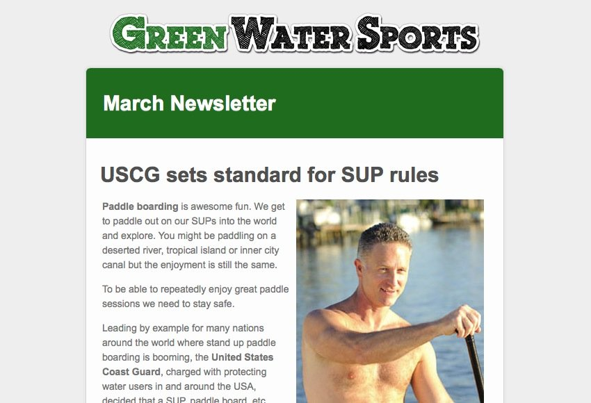 March Newsletter for Red Paddle Co SUPs and Green Water Sports