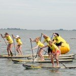 Off they go off the start line in paddle board race