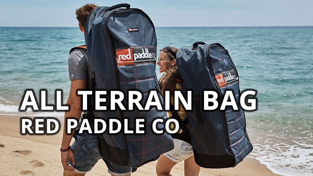 red paddle co all terrain inflatable sup board bag back pack wheels