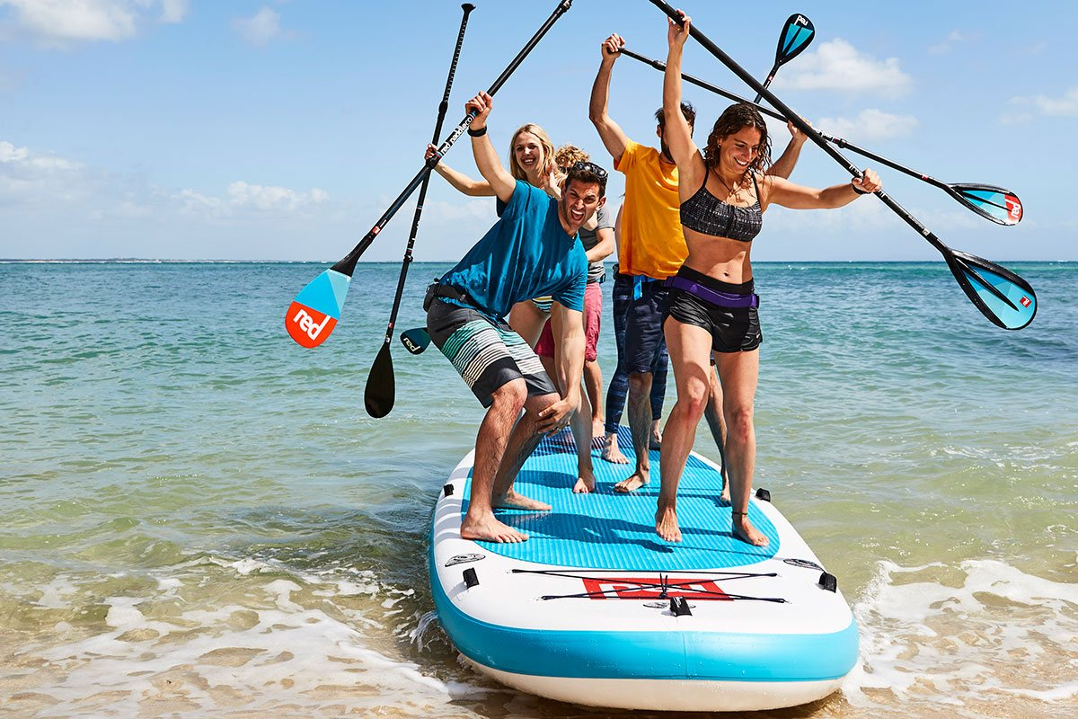 family paddle board sup green water sports