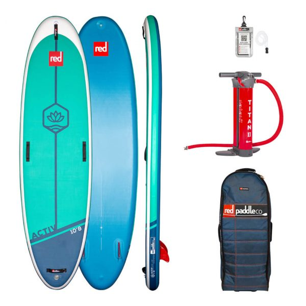 2021 red paddle co 10 8 activ inflatable yoga sup paddle board pilates fitness isup green water sports