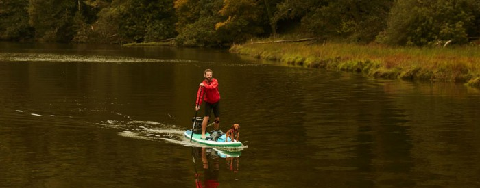fall paddling on inflatable stand up paddle boards