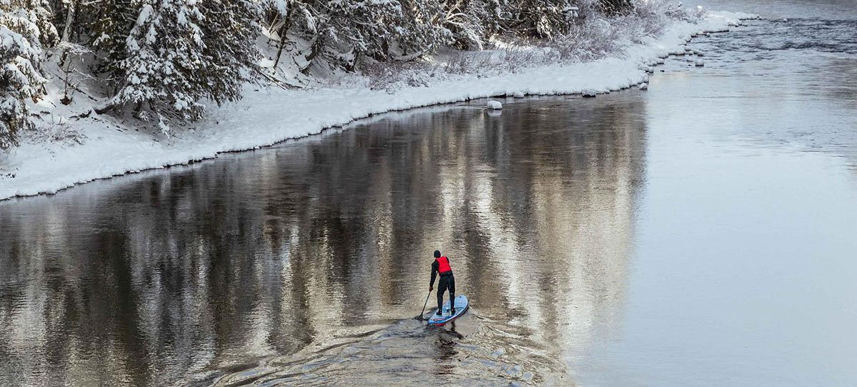 bruce kirkby paddling in winter on starboard sup green water sports